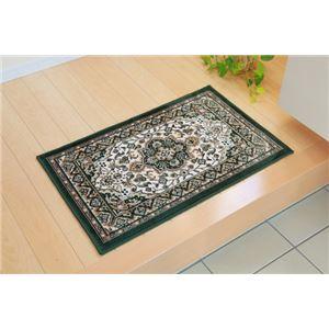 玄関マット 室内/屋内用 洗える モケット織り 王朝柄 『メンデル』 グリーン 67×110cm 滑りにくい加工 - 拡大画像