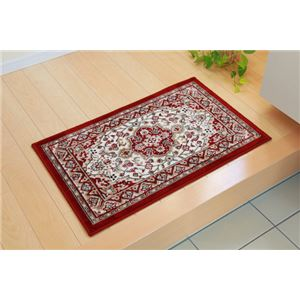 玄関マット 室内/屋内用 洗える モケット織り 王朝柄 『メンデル』 ワイン 50×80cm 滑りにくい加工