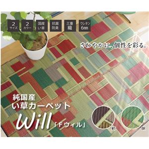 純国産 い草ラグカーペット 『Fウィル』 ブラウン 約191×191cm - 拡大画像