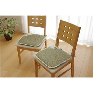 クッション い草クッション シート 花柄 『フォンターナ』 ブルー 約40×40cm 2枚組 - 拡大画像