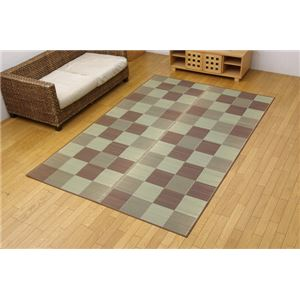 純国産 い草花ござカーペット 『ブロック』 ブラウン 江戸間6畳(261×352cm) - 拡大画像