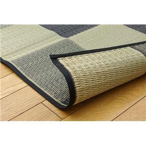 純国産 い草花ござカーペット 『ブロック』 グレー 江戸間10畳(435×352cm)