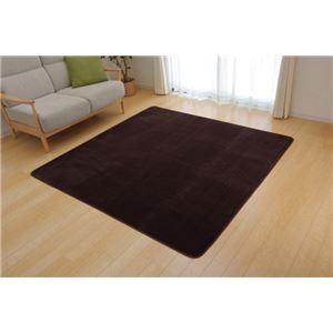 ラグマット カーペット 2畳 洗える 抗菌 防臭 無地 『ピオニー』 ブラウン 約185×185cm (ホットカーペット対応) - 拡大画像