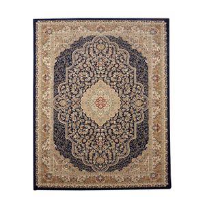 トルコ製 ウィルトン織り カーペット 絨毯 ホットカーペット対応 『ベルミラ RUG』 ネイビー 約240×240cm - 拡大画像