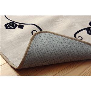 ラグマット カーペット 2畳 洗える ねこ柄 ネコ柄 猫柄 『シャルル』 ベージュ 約185×185cm 裏:すべりにくい加工 (ホットカーペット対応) f06