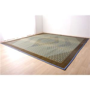 い草ラグ 国産 ラグマット カーペット 約1畳 長方形 『DX組子』 グレー 約95×150cm (裏:不織布) - 拡大画像