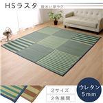い草ラグカーペット フロアマット 約3畳 撥水 長方形 『HSラスタ』 ブルー 約190×250cm (裏:ウレタン)