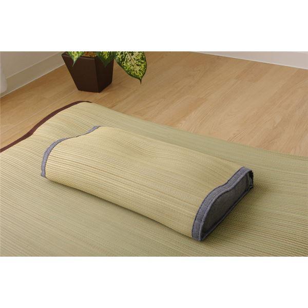 枕 まくら い草枕 消臭 ピロー 国産 無地 『デニム素肌草 頸椎枕 箱付』 約45×25cm 中材:低反発ウレタンチップ