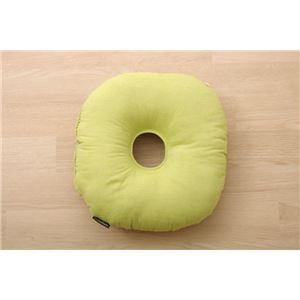 クッション 円座クッション ドーナッツクッション 綿100% 無地 シンプル 『ルージュ』 グリーン 約35cm丸 - 拡大画像