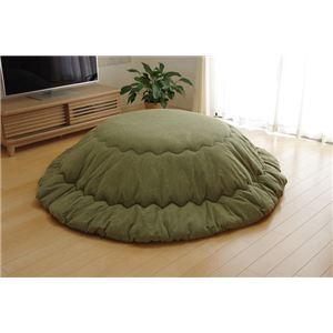 こたつ布団 丸型 円形 掛け単品 つむぎ調 グリーン 約225cm丸(厚掛けタイプ) - 拡大画像
