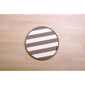 ハンドルカバー クッション ベーシック ボーダー 綿100% インド綿 『ロカ ハンドルカバー』 ベージュ 約43cm丸