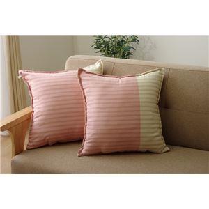 クッション/座布団 【同色2枚組 ピンク 約45cm×45cm】 角型 正方形 綿100% 洗える セアテ 『サラ』 〔リビング〕 - 拡大画像