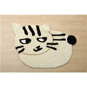 猫柄 フロアマット/玄関マット 【ホワイト】 約70×100cm かわいいアクセントマット 『ルームマット シロ&クロ』 - 拡大画像