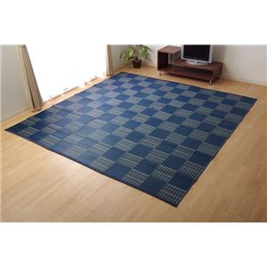 ラグ 洗える PPカーペット 『ウィード』 ネイビー 本間8畳(約382×382cm)