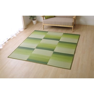 い草ラグ ラグ カーペット 約2畳 正方形 『CXカラ』 グリーン 約180×240cm (裏:不織布)