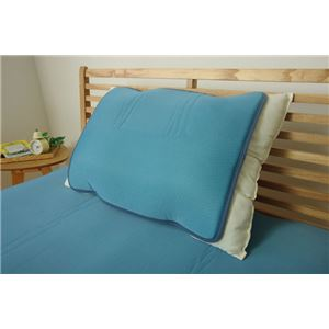 冷感 枕パッド 洗える 低反発 接触冷感 『ツインクール 枕パッド』 無地 約40×50cm - 拡大画像