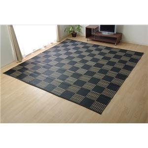 洗える PPカーペット 『ウィード』 ブラック 江戸間2畳(約174×174cm)