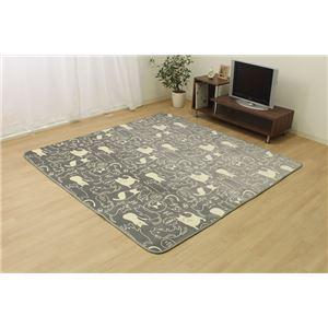 もちもちタッチ ラグマット/絨毯 【グレー ネコ柄 約200cm×250cm】 洗える ホットカーペット対応 『ミーニャRUG』 - 拡大画像