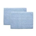 バスマット 洗える 吸水 『スカイ』 ブルー 2枚組 約35×50cm