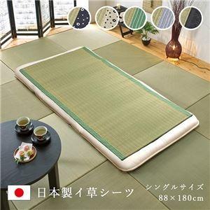 純国産 い草のシーツ(寝ござ) 『白水』 グレー シングル 約88×180cm(熊本県八代産イ草使用) - 拡大画像