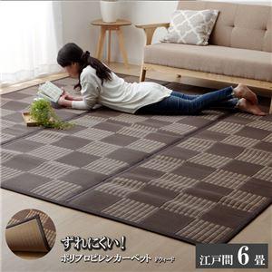 ラグ PPカーペット 『Fウィード』 ブラウン 江戸間6畳(約261×352cm)