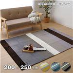 フランネル ラグマット/絨毯 【3畳 ネイビー 約200×250cm】 長方形 洗える 防滑加工 ホットカーペット対応 〔リビング〕