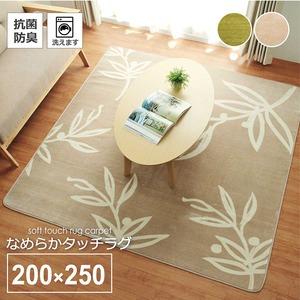 花柄 リーフ柄 ラグマット/絨毯 【3畳 グリーン 約200×250cm】 洗える ホットカーペット 床暖房対応 抗菌防臭 〔リビング〕 - 拡大画像