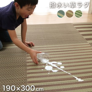 撥水い草 ラグマット/絨毯 【約4畳 長方形 ブルー】 約190×300cm 格子柄 裏:ウレタン 抗菌 防臭 湿度調整効果 〔リビング〕 - 拡大画像