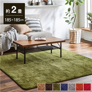 珊瑚マイヤ ラグマット/絨毯 【グリーン 約185×185cm】 正方形 洗える 防滑 床暖房・ホットカーペット対応 〔リビング〕 - 拡大画像