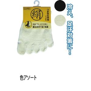綿シルク混重ね履き5本指ソックス色アソート6131-1 47-325 【10個セット】 - 拡大画像