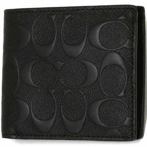 COACH アウトレット デボスド シグネチャー クロスグレーン レザー コイン ウォレット / 二つ折り財布 F75363 BLK  - 拡大画像