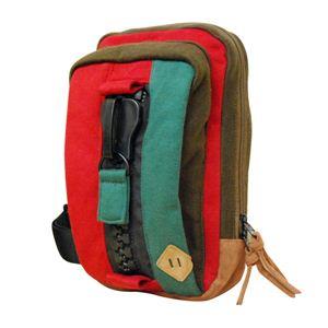mega zip スウェットボディバッグ(RED/GREEN) CB-330-01 - 拡大画像