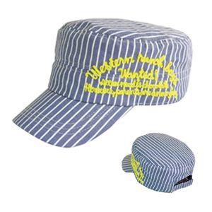 ストライプチェーン刺繍ワークCAP(ネイビーストライプ) VSC-055-02 - 拡大画像