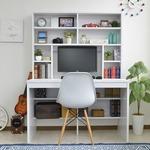 上下書棚付き パソコンデスク/学習机 【ホワイト】 幅115cm 奥行58.5cm 上下一体型 組立品