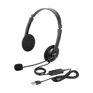 バッファロー(サプライ) 両耳ヘッドバンド式ヘッドセット USB接続 ブラック BSHSUH12BK