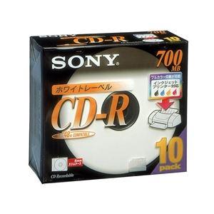 SONY データ用CD-R 追記型 700MB 48倍速 ホワイトプリンタブル 10枚P5mmスリムケース 10CDQ80DPWS - 拡大画像