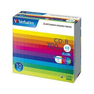 三菱ケミカルメディア CD-R 700MB PCデータ用 48倍速対応 10枚スリムケース入り ワイド印刷可能 SR80SP10V1 - 拡大画像