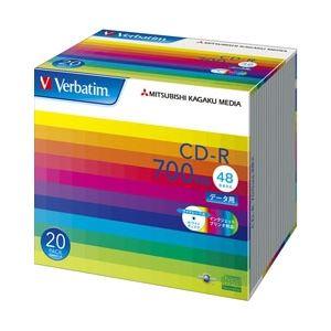 三菱ケミカルメディア CD-R 700MB PCデータ用 48倍速対応 20枚スリムケース入り ワイド印刷可能 SR80SP20V1 - 拡大画像