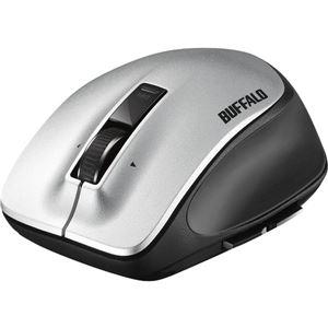 バッファロー 無線 レーザー プレミアムフィットマウス Mサイズ シルバー BSMLW500MSV - 拡大画像