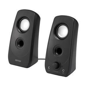 バッファロー 2.0ch マルチメディアスピーカー USB電源/ステレオミニプラグ音源 ブラック BSSP28UBK - 拡大画像