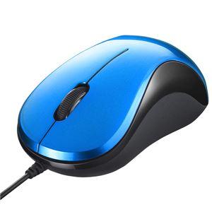 バッファロー(サプライ) 有線 BlueLED光学式マウス 静音/3ボタン ブルー BSMBU100BL - 拡大画像