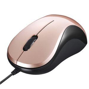 バッファロー(サプライ) 有線 BlueLED光学式マウス 静音/3ボタン ベージュピンク BSMBU100BP - 拡大画像