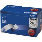 ブラザー工業 TZeテープ ラミネートテープ(透明地/黒字) 24mm 5本パック TZe-151V