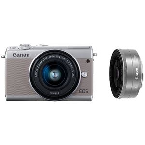 キヤノン ミラーレスカメラ EOS M100・ダブルレンズキット (グレー) 2211C034 商品写真