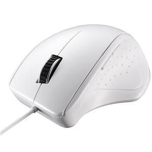 バッファロー(サプライ) 有線レーザー式マウス 静音/5ボタン ホワイト - 拡大画像
