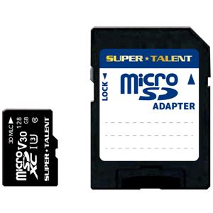 SUPERTALENT UHS-I 高耐久 3D MLC NAND採用 microSDXCメモリーカード 128GBClass10 変換アダプタ付 - 拡大画像