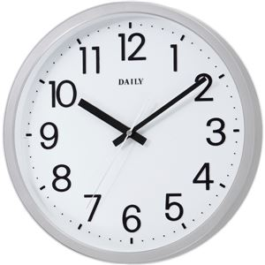リズム時計 クオーツ式掛け時計 フラットフェイスDN (シルバー) - 拡大画像