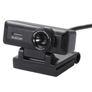 エレコム PC Webカメラ/500万画素/マイク内蔵/高精細ガラスレンズ/ブラック - 拡大画像