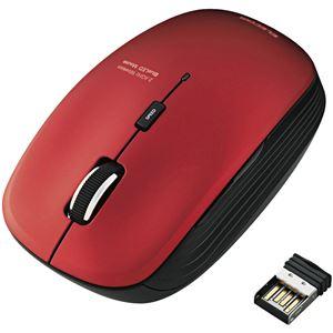 エレコム ワイヤレスBlueLEDマウス/静音5ボタン/2.4GHz/レッド
