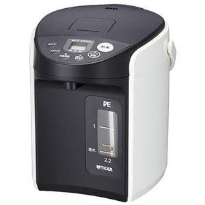 タイガー魔法瓶 VE電気まほうびん  とく子さん  2.2L ホワイト PIQ-A220W - 拡大画像